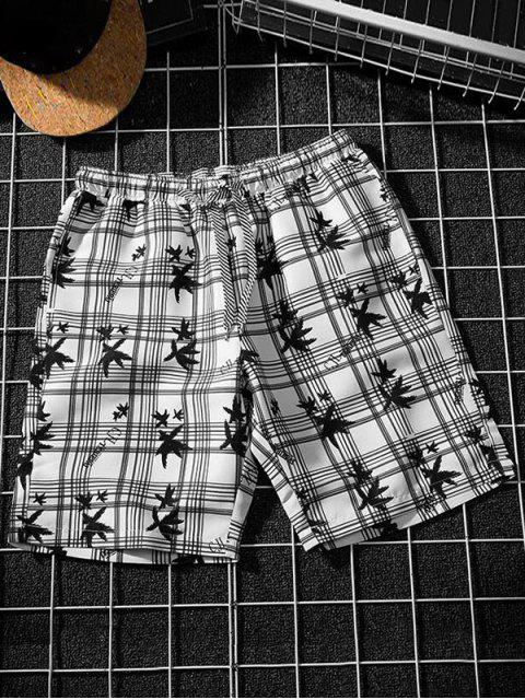 online Plaid Leaf Print Board Shorts - MULTI-B XS Mobile
