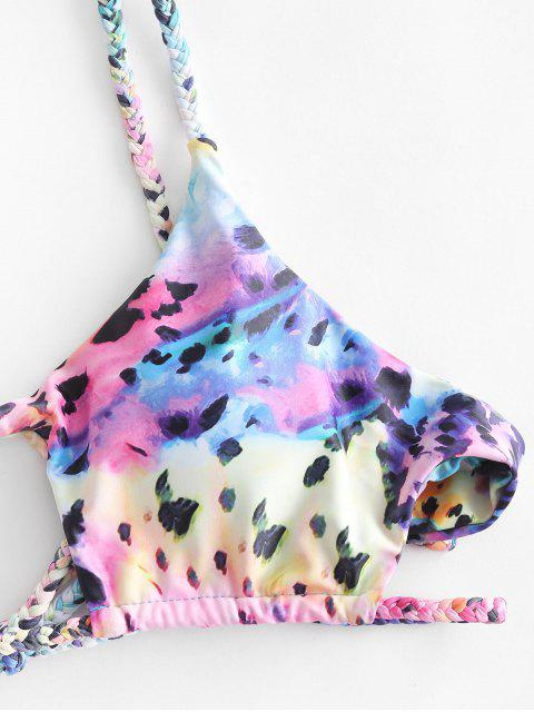 unique ZAFUL Braided Cutout Leopard Three Piece Swimsuit - MULTI-A S Mobile