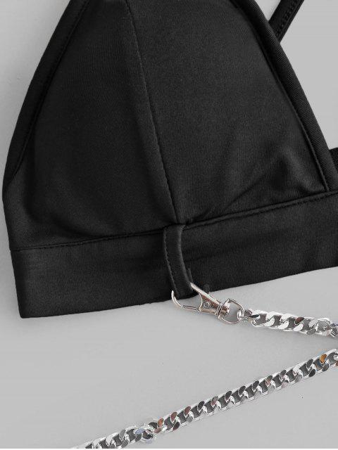 Top Bralette Acolchoado com Chains - Preto Um Tamanho Mobile