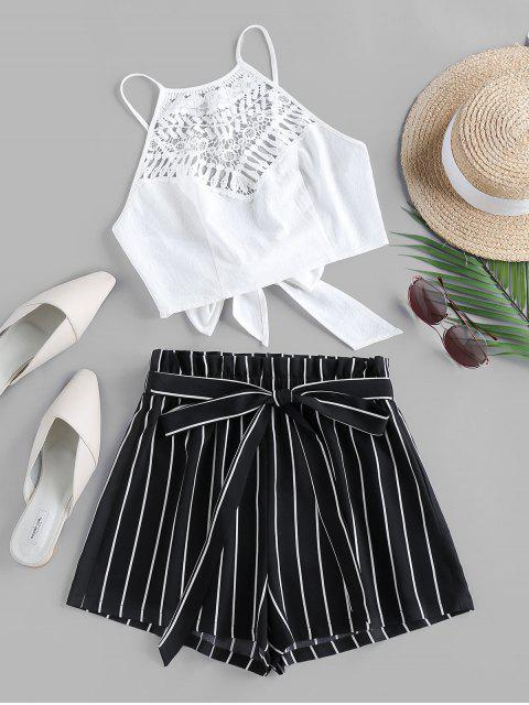 lady ZAFUL Guipure Insert Striped Paperbag Waist Shorts Set - BLACK M Mobile