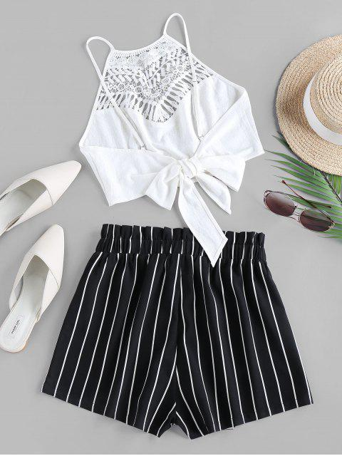 outfits ZAFUL Guipure Insert Striped Paperbag Waist Shorts Set - BLACK XL Mobile