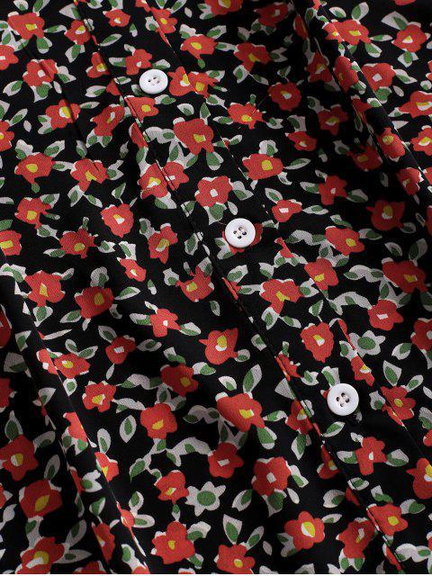 Robe Fleurie Plongeante avec Bouton en Avant à Volants - Noir S Mobile