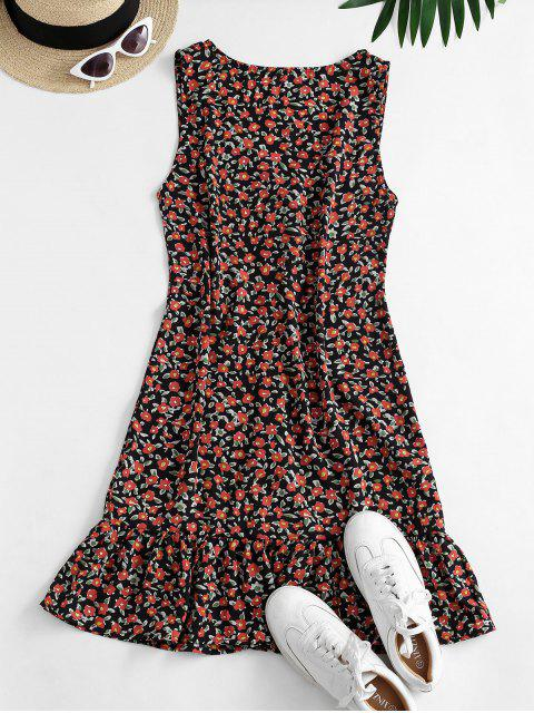 shop Ditsy Floral Plunging Flounce Button Front Dress - BLACK L Mobile