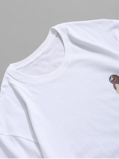 latest Short Sleeves Letters Bird Print Solid Tee - WHITE 3XL Mobile