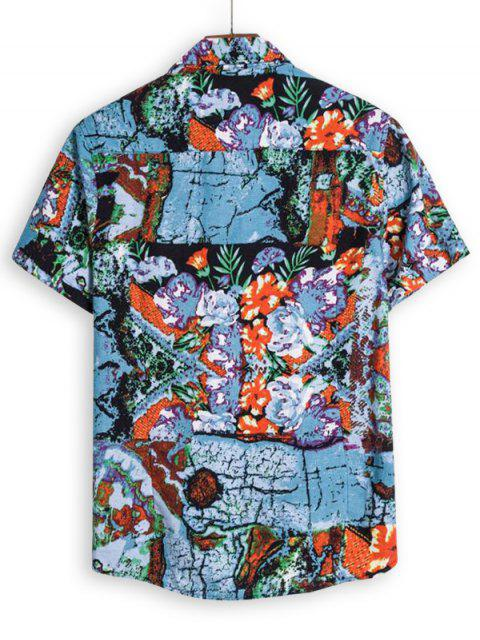 trendy Flower Graphic Short Sleeve Shirt - BLUE IVY 3XL Mobile