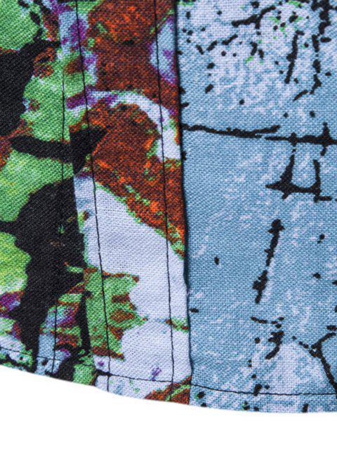 Chemise Fleur Graphique à Manches Courtes - Bleu Lierre 3XL Mobile