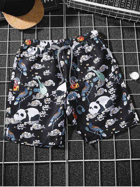 affordable Cartoon Animal Clouds Graphic Beach Shorts - MULTI-A S Mobile