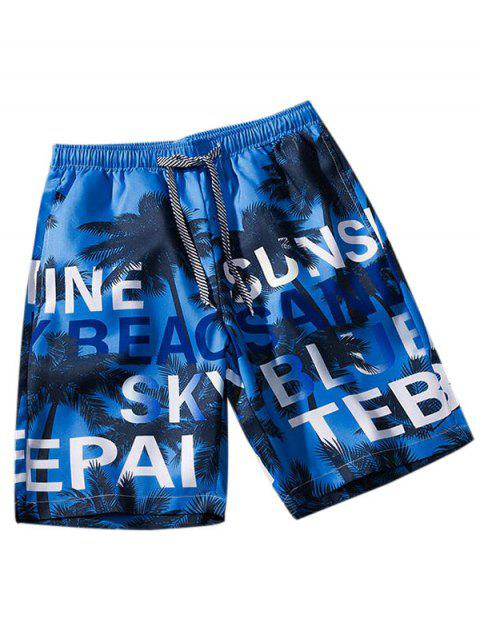 chic Palm Tree Letter Print Vacation Shorts - COBALT BLUE XS Mobile