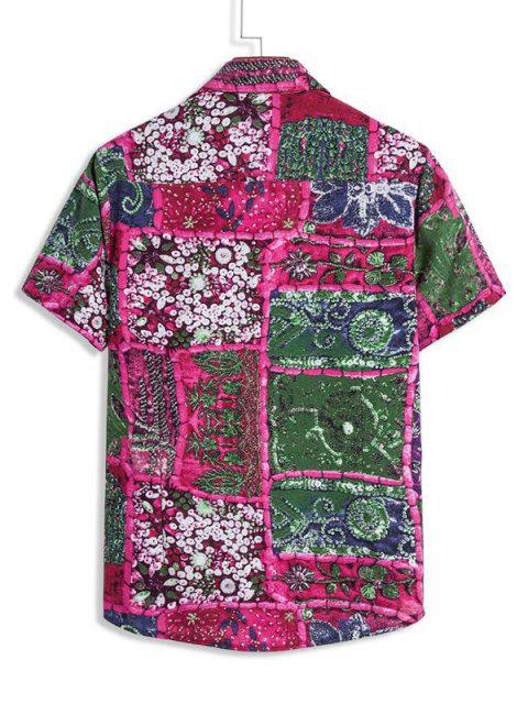 Plant Floral Spliced Print Button Down Shirt - حرق الوردي 2XL Mobile