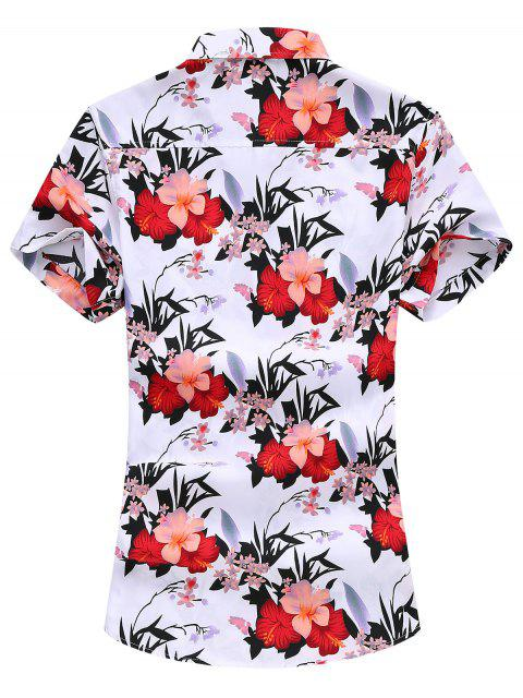 Flower Print Vacation Shirt - أبيض 2XL Mobile