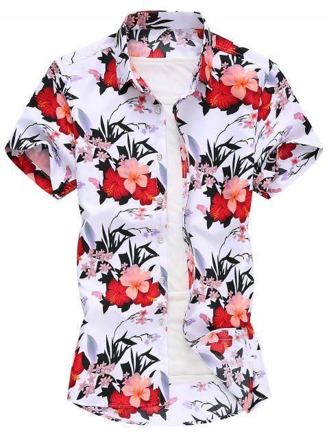 trendy Flower Print Vacation Shirt - WHITE XL Mobile