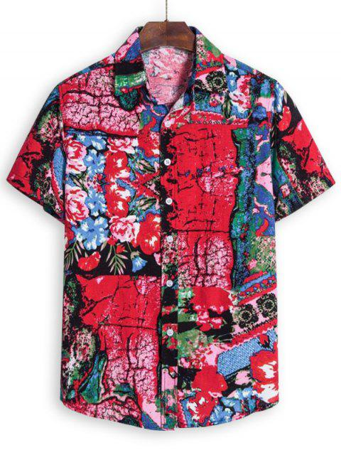 affordable Flower Graphic Short Sleeve Shirt - MEDIUM VIOLET RED 3XL Mobile