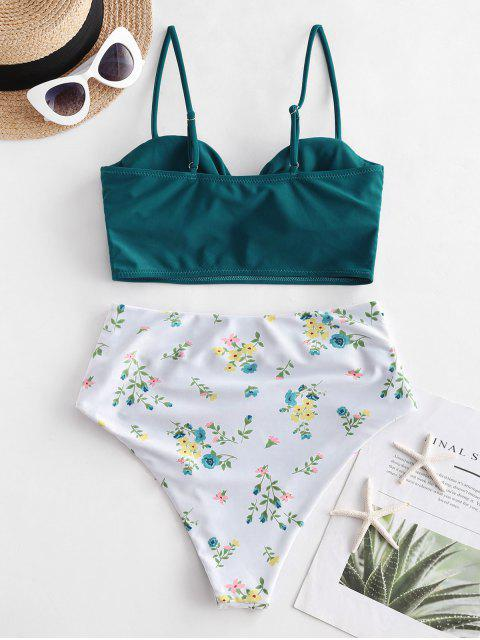 ZAFUL Geraffte Ditsy Blumen Tankini Badebekleidung mit Hoher Taille - Pfauenblau S Mobile