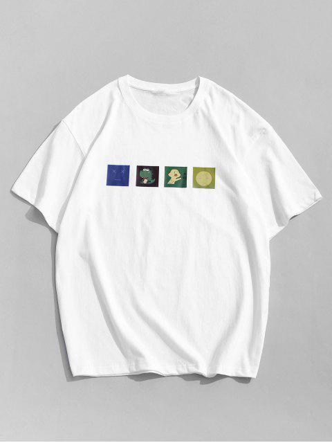fashion Short Sleeves Cartoon Printed Tee - WHITE 2XL Mobile
