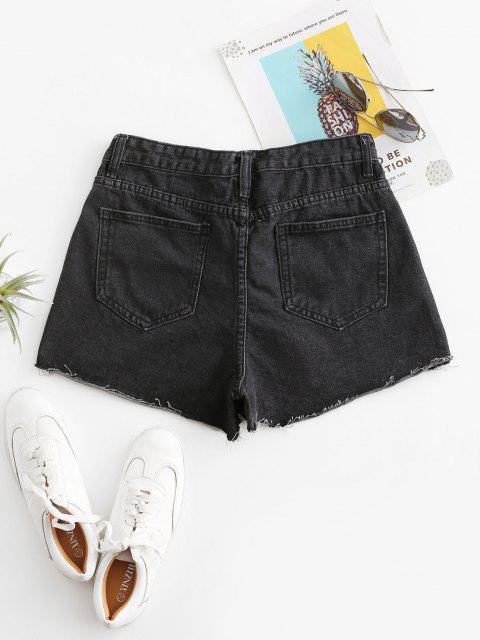 new Cuff Off Cuffed Jean Shorts - BLACK L Mobile