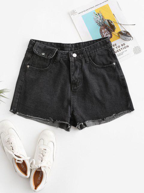 women's Cuff Off Cuffed Jean Shorts - BLACK XL Mobile