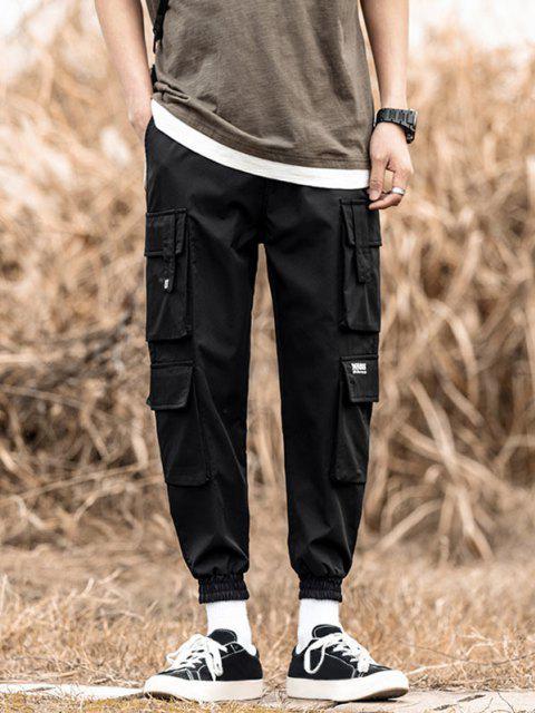 Jogger Pantalones de Solapa de Multi-Bolsillos de Solapa - Negro S Mobile