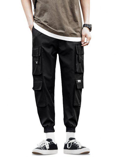 Jogger Pantalones de Solapa de Multi-Bolsillos de Solapa - Negro L Mobile
