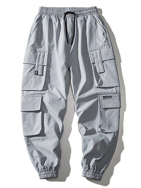shops Multi Flap Pockets Drawstring Cargo Jogger Pants - BLUE GRAY XS Mobile