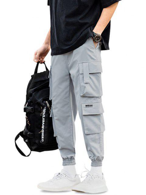 Jogger Pantalones de Solapa de Multi-Bolsillos de Solapa - Gris Azulado L Mobile