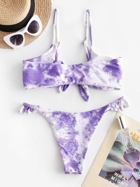 women ZAFUL Tie Dye Knot Frilled String Bikini Swimsuit - MAUVE S Mobile