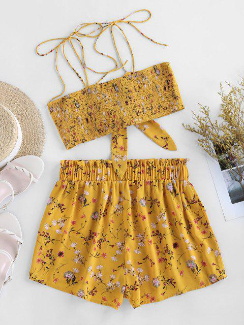 best ZAFUL Ditsy Print Tie Smocked Co Ord Set - YELLOW S Mobile
