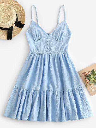 ZAFUL Button Embellished Smocked Flounce Hem Cami Dress - Blue S