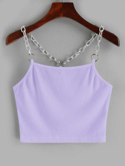 Chains Ribbed Crop Tank Top - Purple S