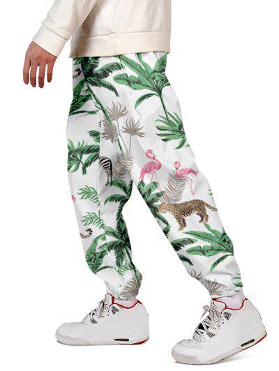Pantalones Jogger De Planta Tropical De Vacaciones - Verde De Pino  2xl