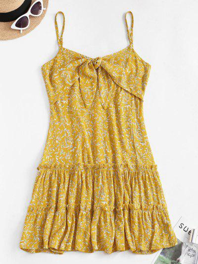 Ditsy Leaf Knotted Cami Flounce Dress - Yellow S