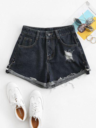Distressed Cuffed Jean Shorts - Denim Dark Blue L