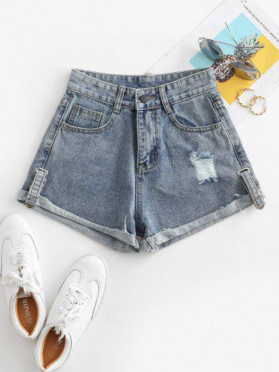 Distressed Cuffed Jean Shorts - Jeans Blue M