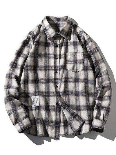Plaid Letter Pattern Long Sleeves Shirt - Wood L