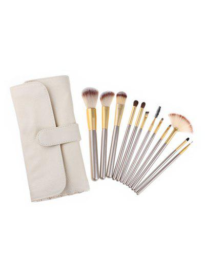 Multi-function Makeup Brushes Set With Bag - Milk White 12pcs