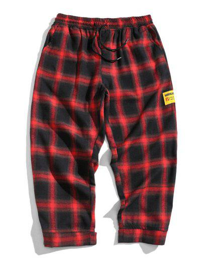 Drawstring Plaid Cropped Pants - Red L