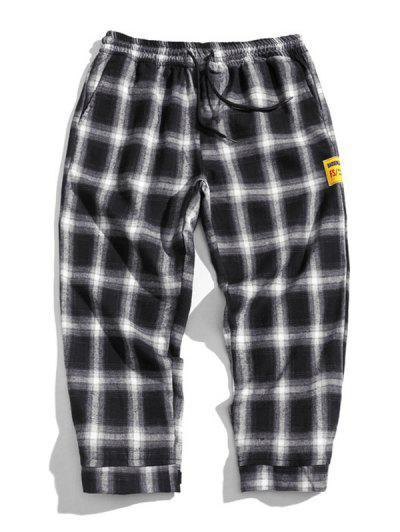 Drawstring Plaid Cropped Pants - White Xl