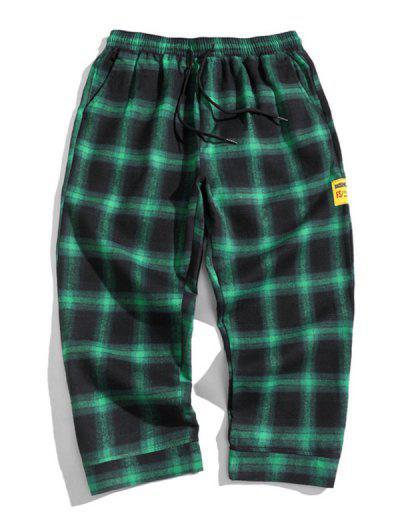 Drawstring Plaid Cropped Pants - Deep Green M
