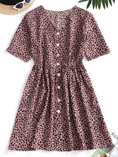 Leopard Button Up Pocket Smock Dress - Pink M