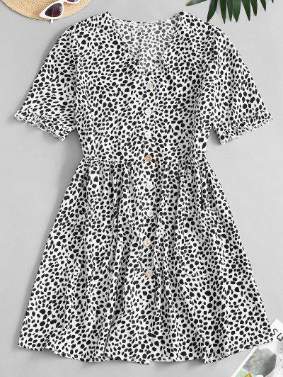 Leopard Button Up Pocket Smock Dress - Black M