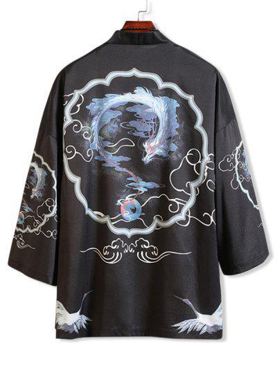 動物ドラゴンは着物カャツ - 黒 M