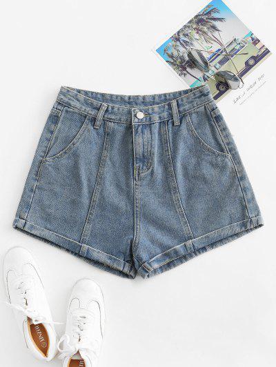 Cuffed High Waisted Jean Shorts - Light Blue L