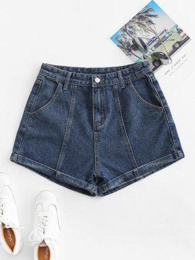 Cuffed High Waisted Jean Shorts - Denim Dark Blue M
