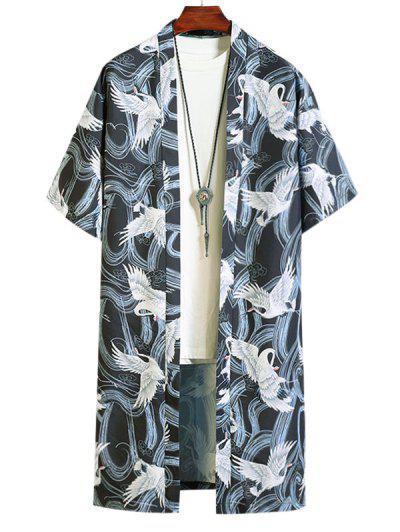 Camisa De Kimono Casual Con Estampado De Animal - Negro 2xl