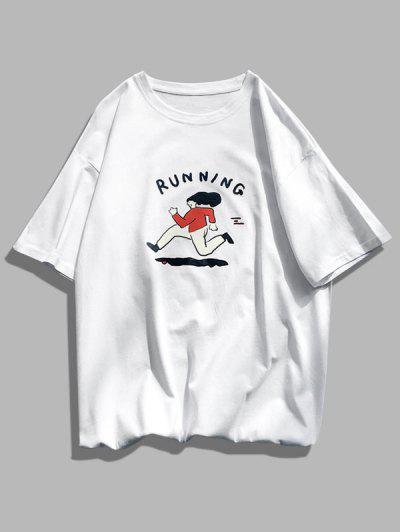 Running Character Graphic Basic T-shirt - White S