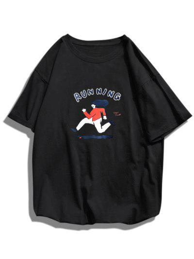 Running Character Graphic Basic T-shirt - Black Xs