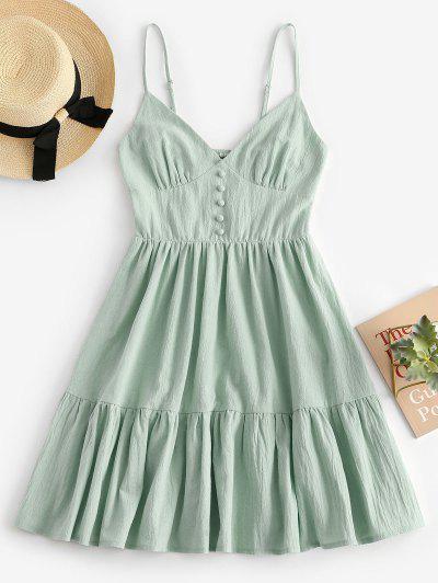 ZAFUL Button Embellished Smocked Flounce Hem Cami Dress - Light Green S
