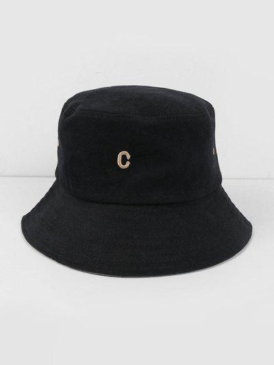 Letter C Cotton Bucket Hat - Black