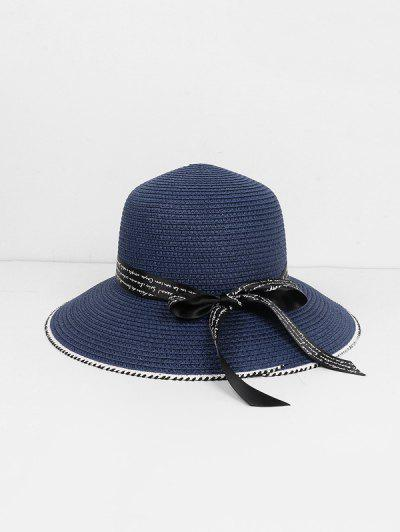 Beach Letter Ribbon Straw Hat - Cadetblue