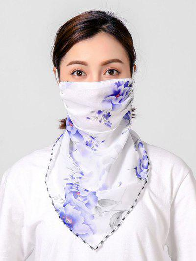 Flowers Printed Outdoor Mask Scarf - White