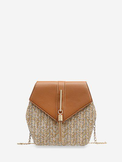 Geometric Tassel Chain Crossbody Bag - Tiger Orange